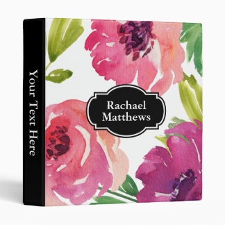 Feminine Watercolor Floral Custom Vinyl Binder