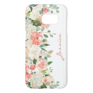Feminine Watercolor Floral with Monogram Samsung Galaxy S7 Case