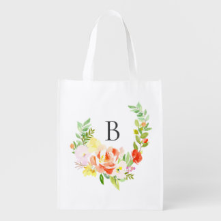 Feminine Watercolor Peach Peonies Wreath Monogram Reusable Grocery Bag