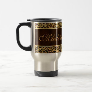 Feminine Wild Cheetah in Gold and Brown Travel Mug