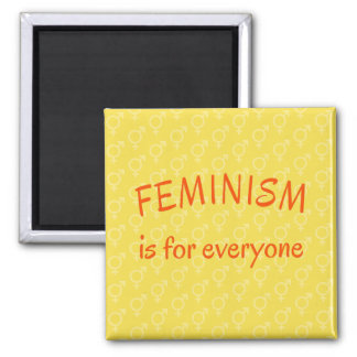 Feminism for everyone bright yellow magnet
