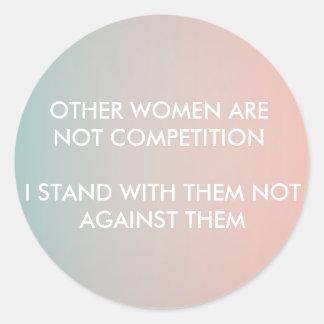 Feminism Sticker: I stand with women Round Sticker