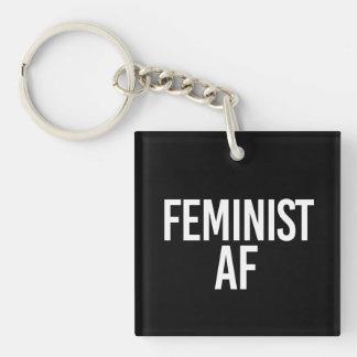 Feminist AF - - white - Keychain