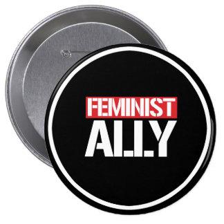 Feminist Ally --  white - 4 Inch Round Button