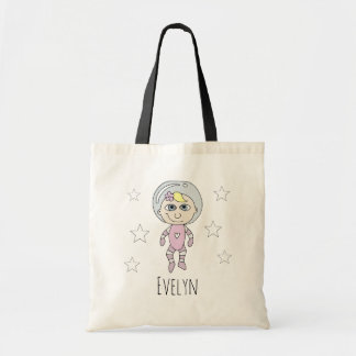 Feminist Baby Girl Astronaut Doodle and Name Tote Bag