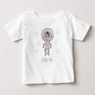 Feminist Baby Girl Astronaut Dream Doodle and Name Baby T-Shirt