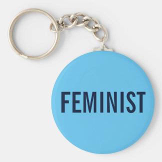 Feminist, bold navy text on sky blue keychain