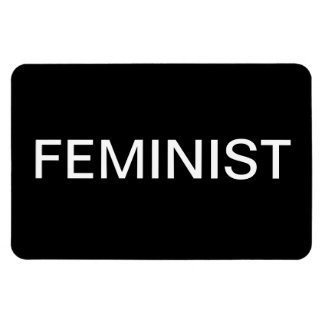 Feminist—bold white all caps on black magnet