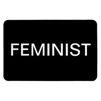 Feminist—bold white all caps on black rectangular photo magnet