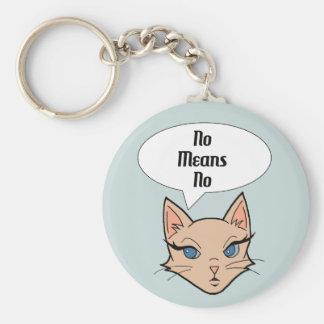 Feminist Cat Cartoon Illustration Keychain