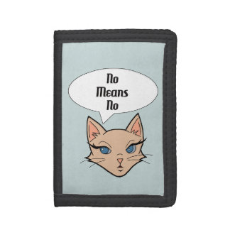 Feminist Cat Cartoon Illustration Trifold Wallet