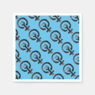 Feminist Fist (blue background) Disposable Napkins