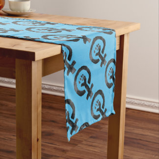 Feminist Fist (blue background) Short Table Runner