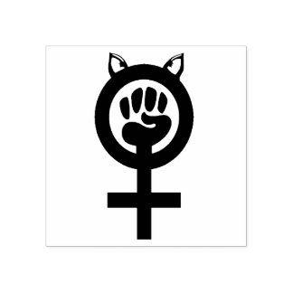Feminist Fist Pink Pussy Power (Pink Ink) Pushback Rubber Stamp
