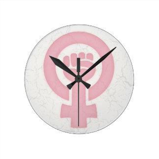 Feminist Fist Round Clock