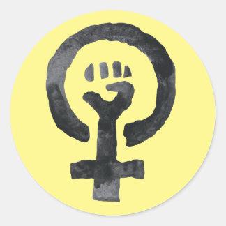 Feminist Fist Symbol Classic Round Sticker