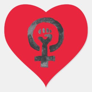Feminist Fist Symbol Heart Sticker