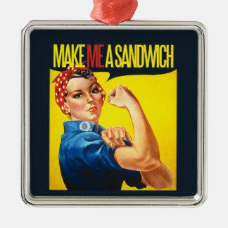 Feminist Make me a Sandwich Silver-Colored Square Ornament