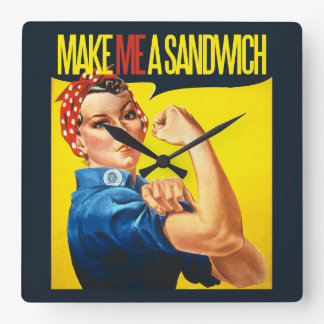 Feminist Make me a Sandwich Square Wall Clock