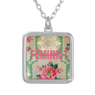 Feminist necklace vintage wallpaper pink