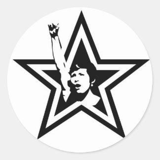 Feminist Star Button Classic Round Sticker