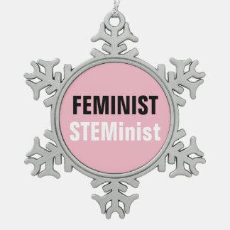 Feminist Steminist Snowflake Pewter Christmas Ornament