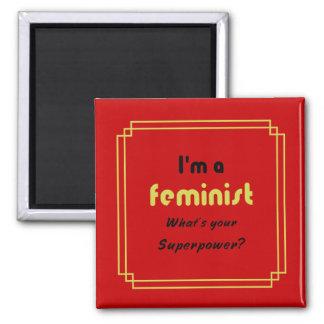 Feminist super power slogan gold on red magnet