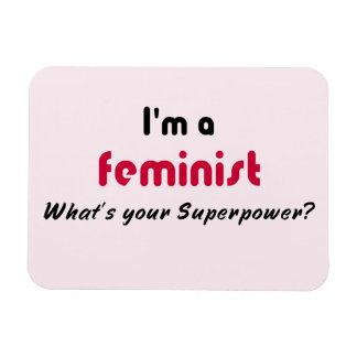 Feminist super power slogan pink rectangular photo magnet