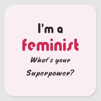 Feminist super power slogan pink square sticker