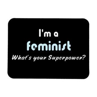 Feminist super power slogan white black rectangular photo magnet