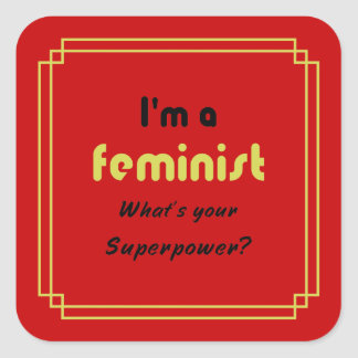 Feminist superpower slogan gold on red square sticker