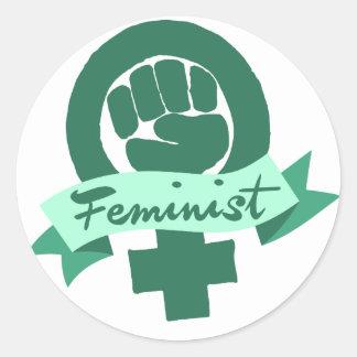 Feminist symbol in teal classic round sticker