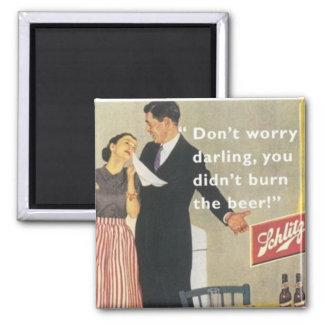 femme au foyer vintage magnet carré