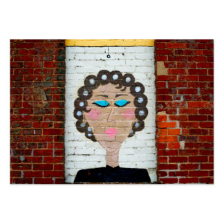 Femme dans des bigoudis carte de visite grand format