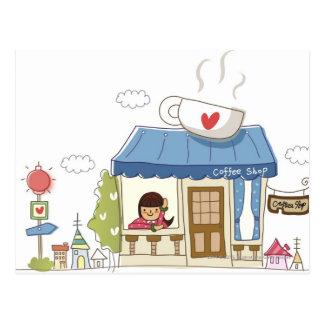 Femme dans un café-restaurant cartes postales