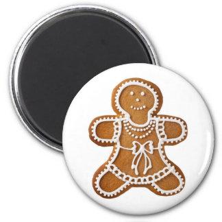 Femme de pain d'épice de Noël Magnet Rond 8 Cm