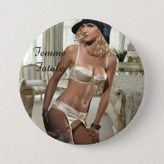 Femme Fatale 1920's - Smoking and Guns 3 Inch Round Button