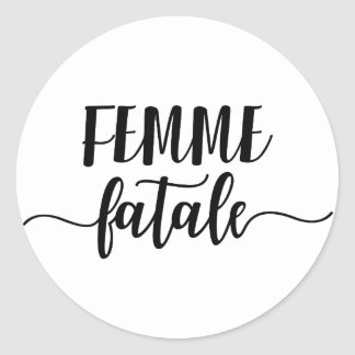 femme fatale classic round sticker