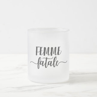 femme fatale frosted glass coffee mug