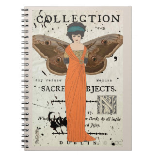 Femme Fatale Winged Woman Orange Dress Notebooks