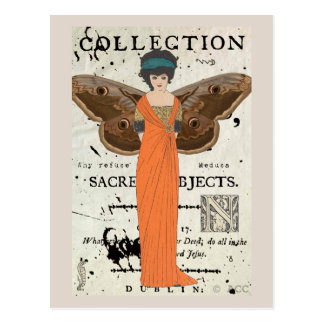 Femme Fatale Winged Woman Orange Dress Postcard