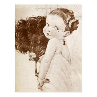 Femme Fatale with Egyptian Feather Fan Postcard
