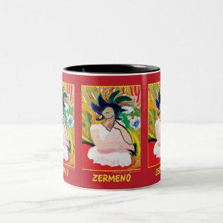 """""""Femme Fauve"""" (wraparound) by Zermeno Two-Tone Coffee Mug"""