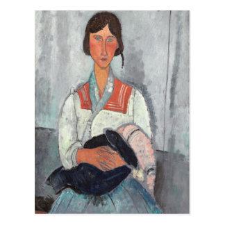 Femme gitane avec Baby, 1919 (huile sur la toile) Cartes Postales