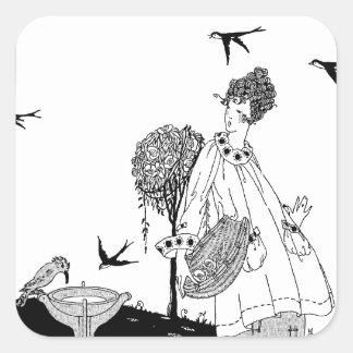Femme vintage avec Bath et hirondelles d'oiseau Sticker Carré