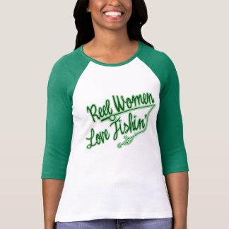 Femmes de pêche d'amour de femmes de bobine extéri t-shirt