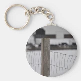 fence and farm basic round button keychain