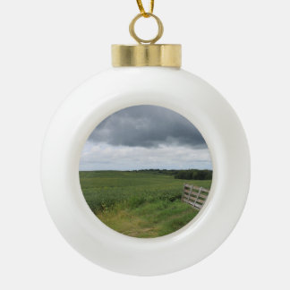 fence gate in front of field with mowed horseshoe ceramic ball christmas ornament