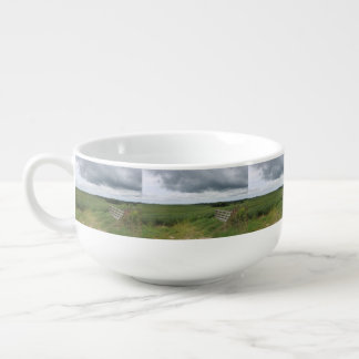 fence gate in front of field with mowed horseshoe soup mug