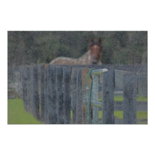 fence with horse behind abstracted grunged print